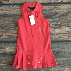 Nwt Ralph Lauren red polo tank dress pleated skirt